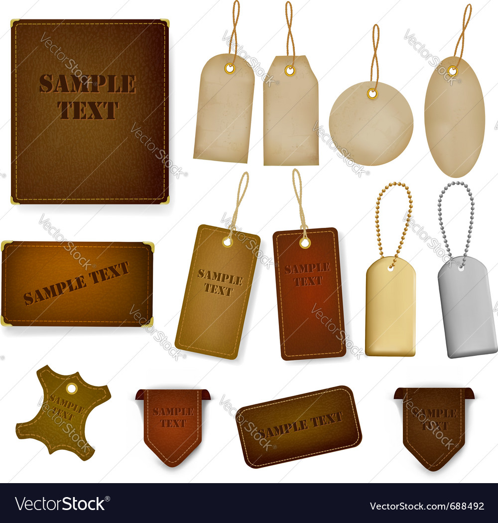 Set of leather and jeans labels and tags