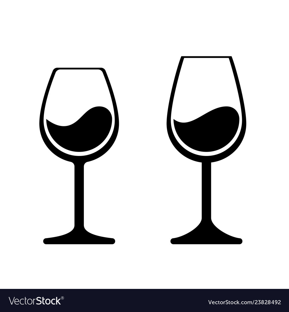 Wine glass icons isolated wineglass silhouette