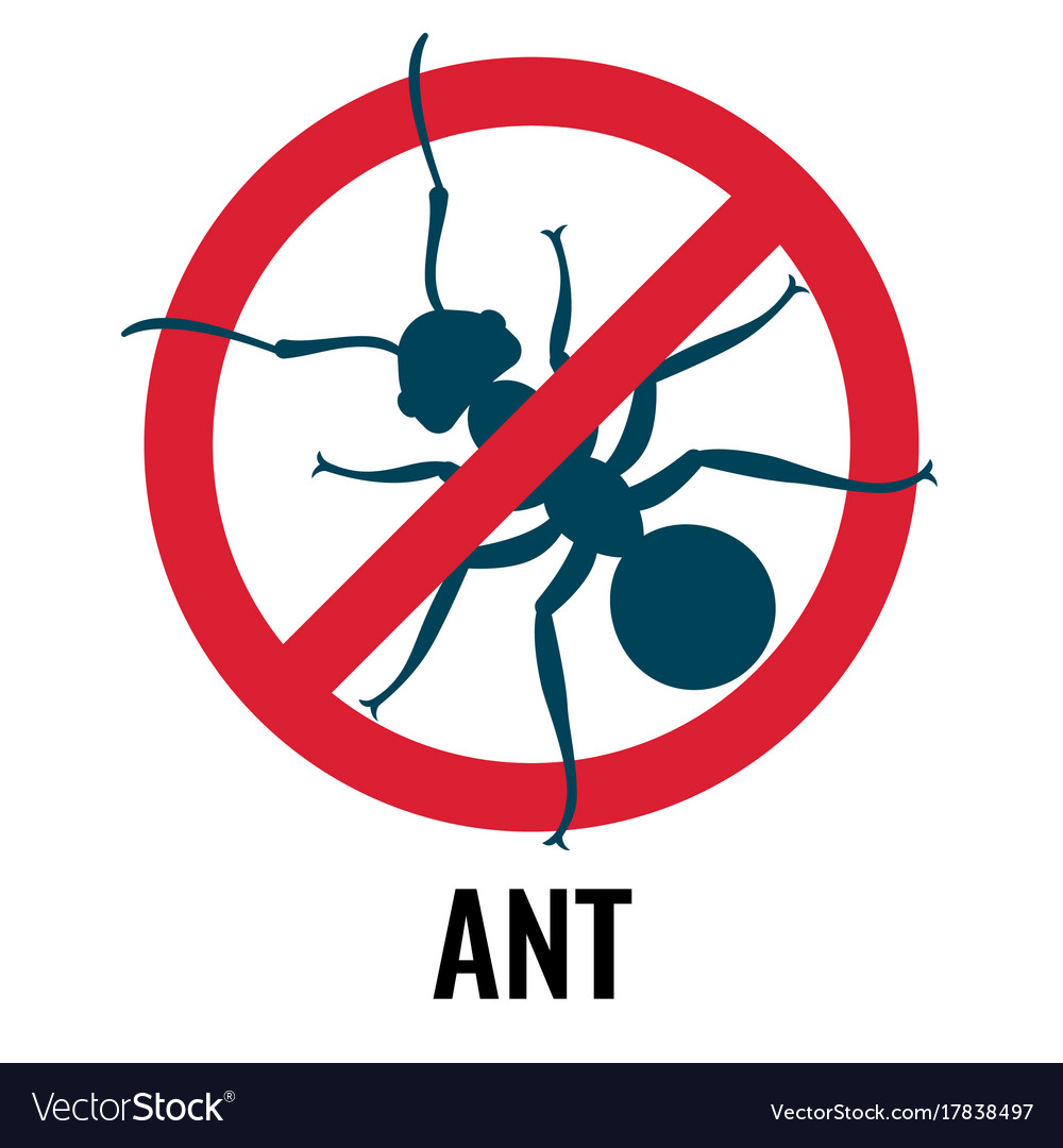 Anti-ant emblem with bug placed in circle