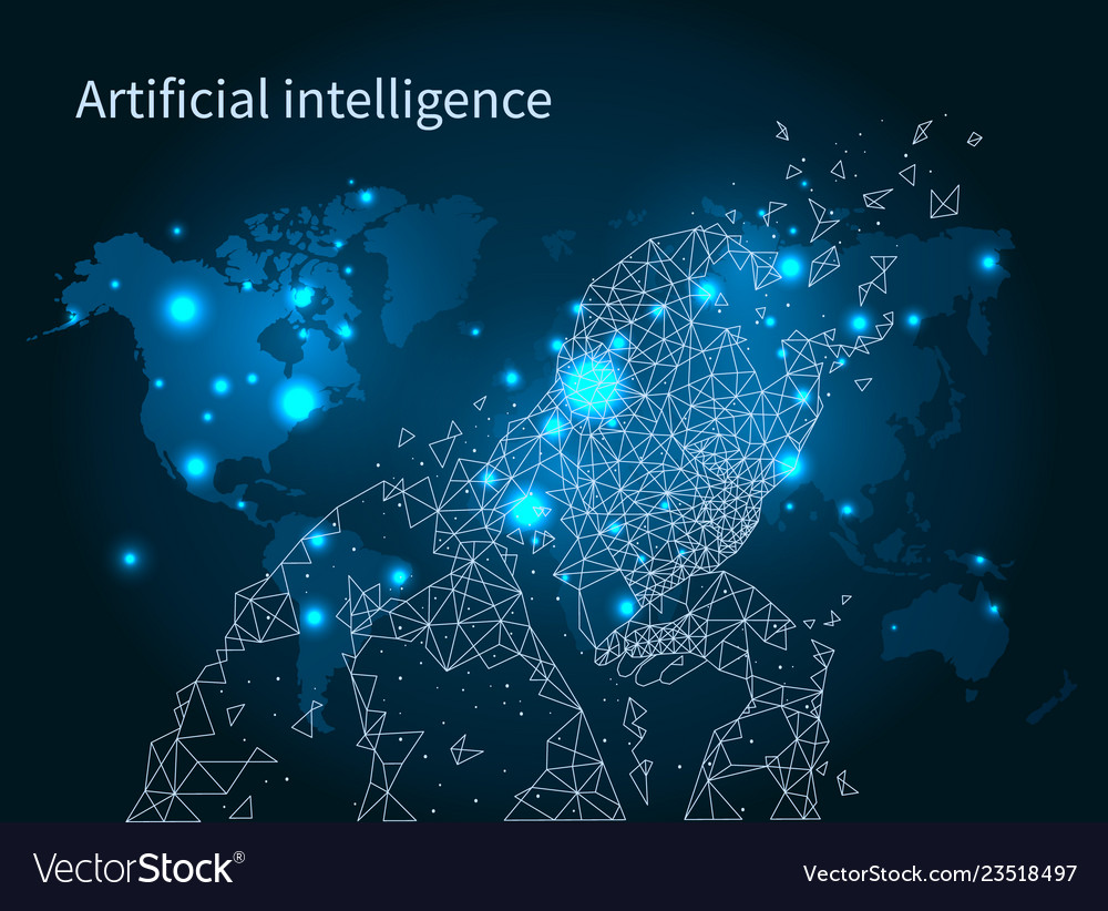 Artificial intelligence map network poster