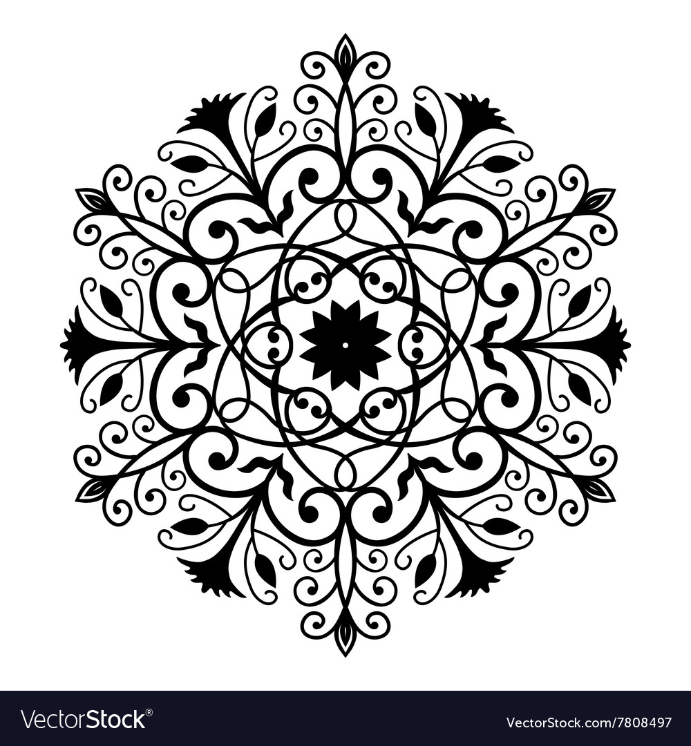 Black Forged Round Ornament Royalty Free Vector Image