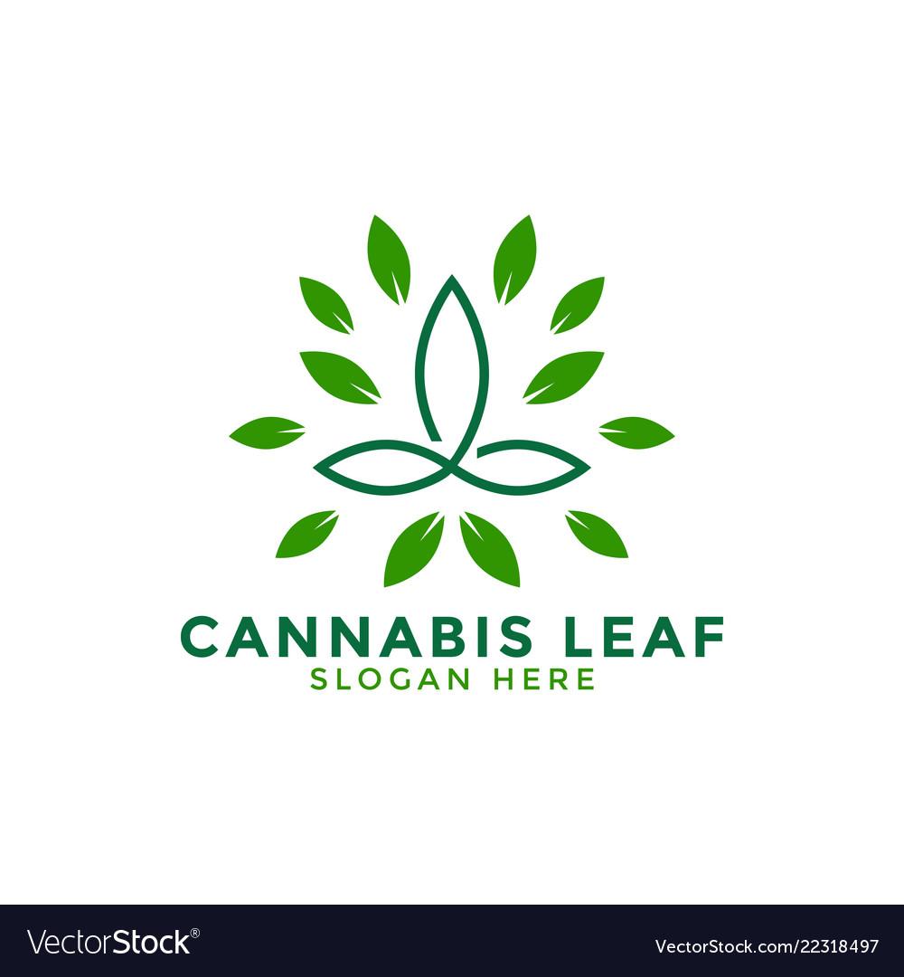 Cannabis leaf logo icon design template line
