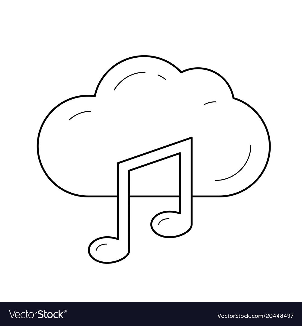 Cloud music line icon