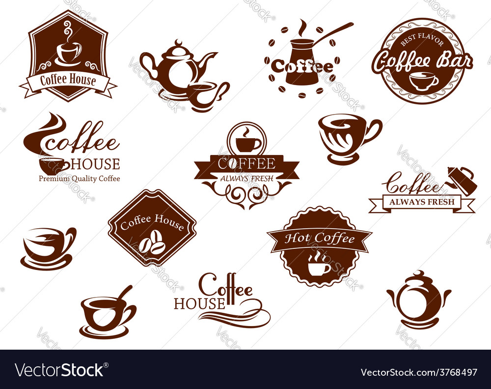 Coffee icons banners and logos in brown