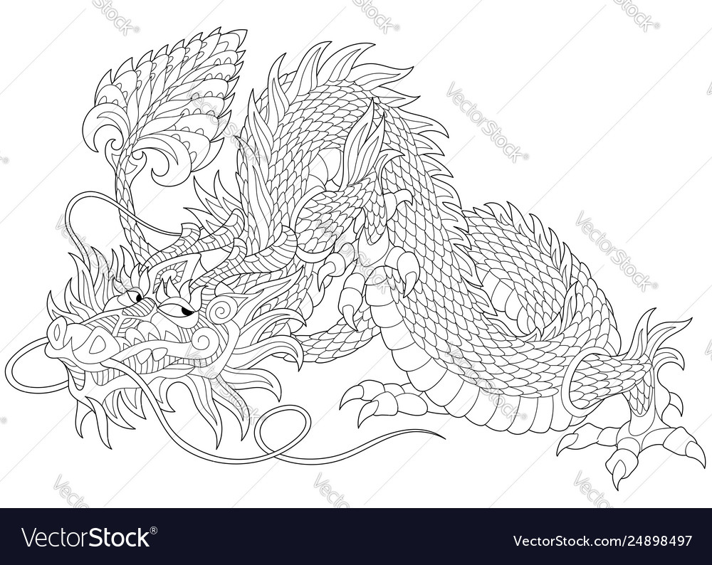 Dragon adult coloring page