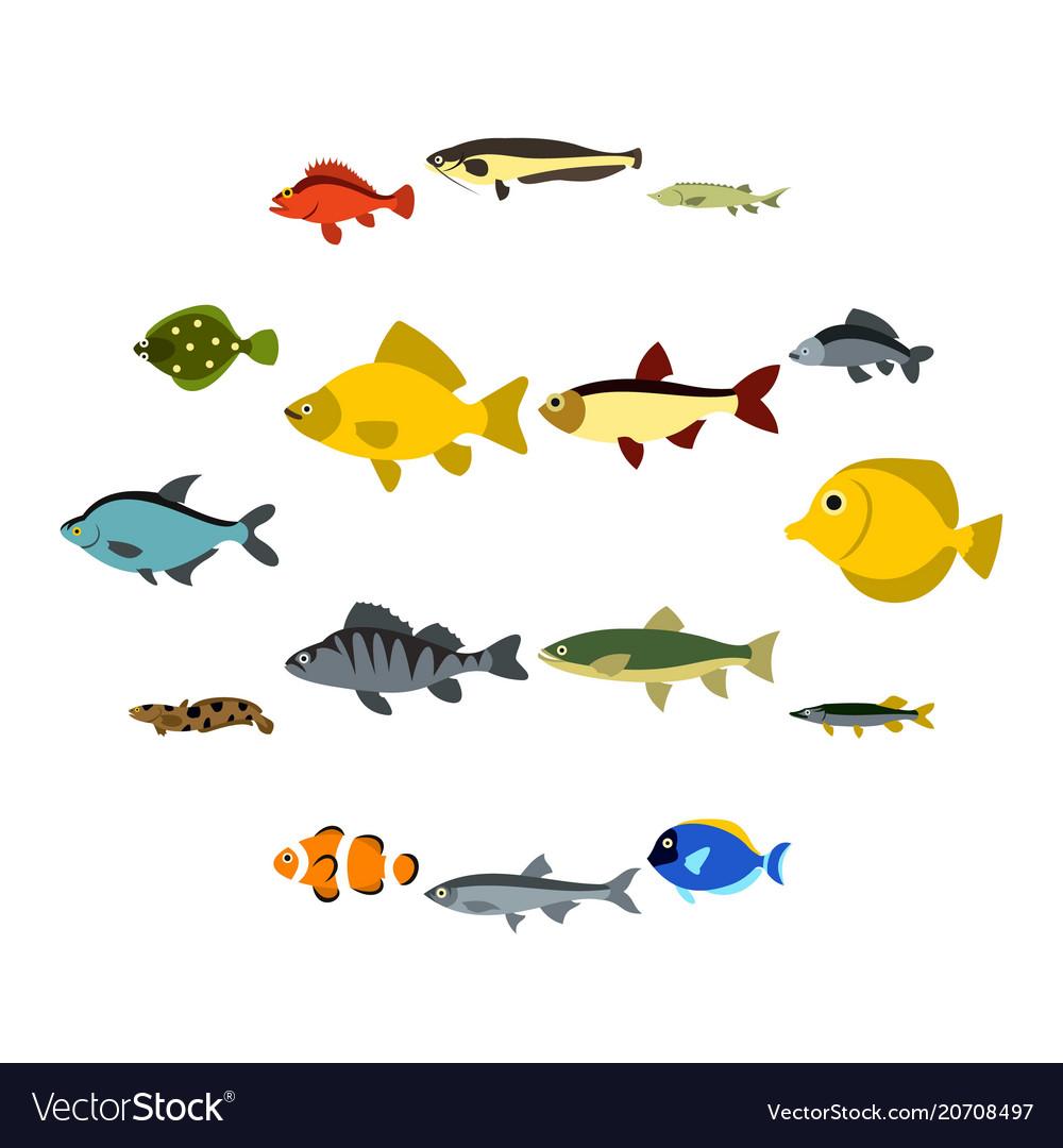 Fish icons set flat style