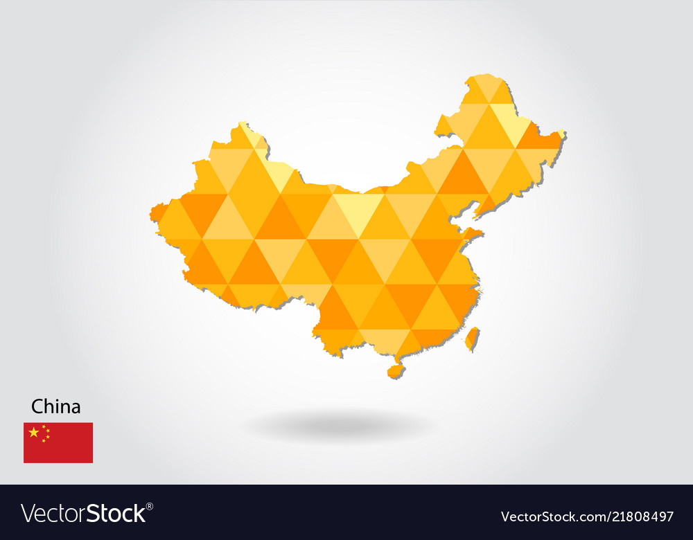 Geometric polygonal style map of china low poly