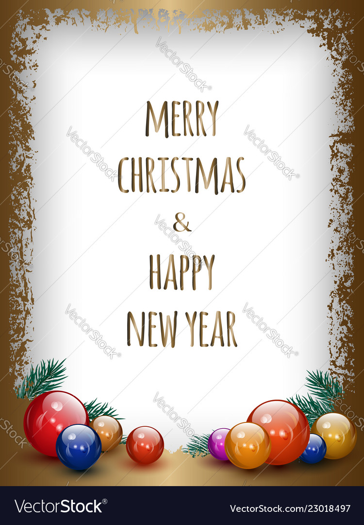 Gold greeting card with christmas decoration