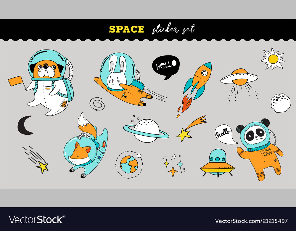 Outer space sticker collection cute animals