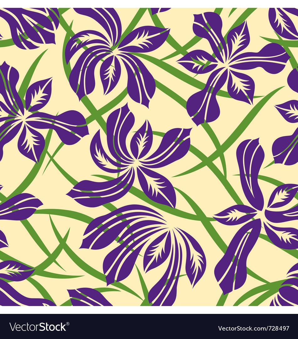 Seamless purple flower pattern
