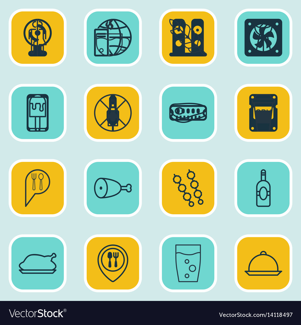 Set of 16 food icons includes dining grill vector image