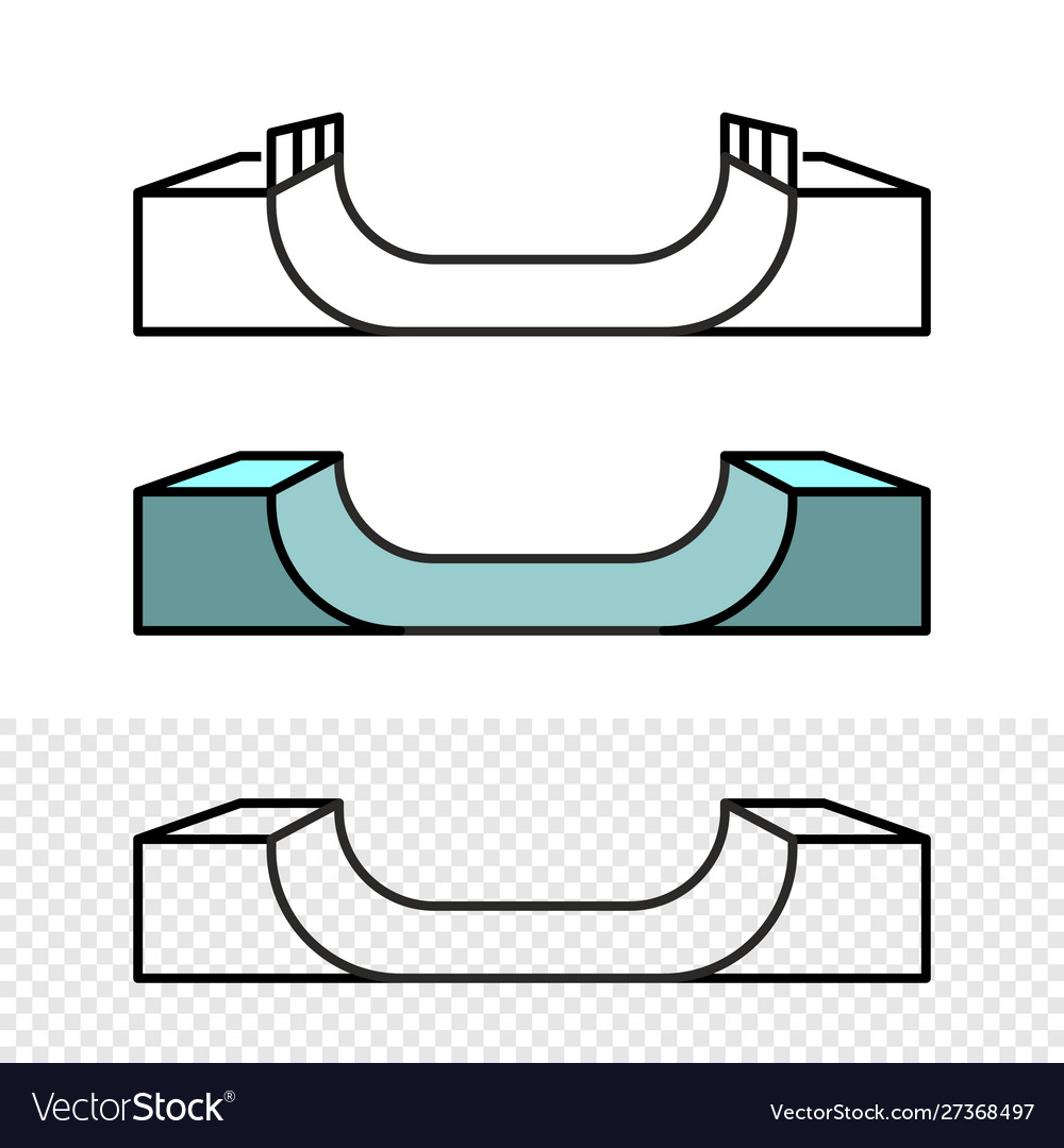 Skateboard ramp side view skate park construction vector