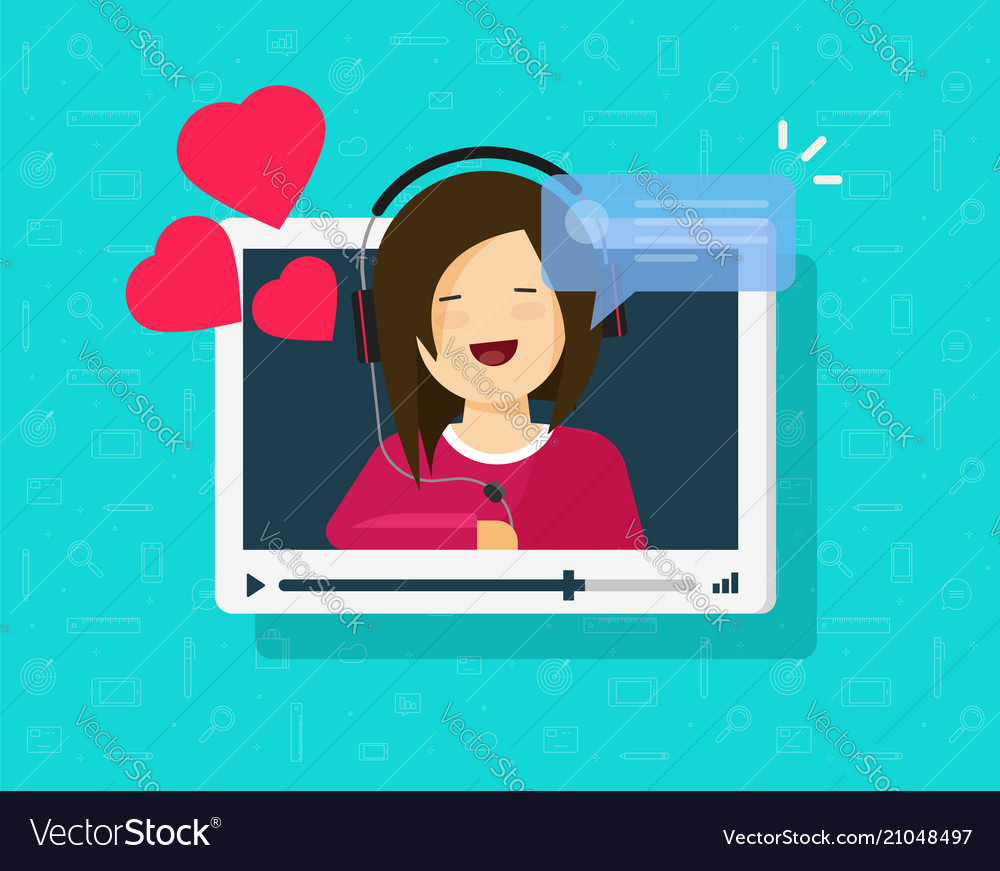 Video call of happy lovely girl