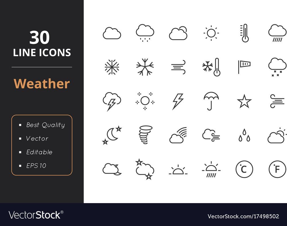 30 weather line icons