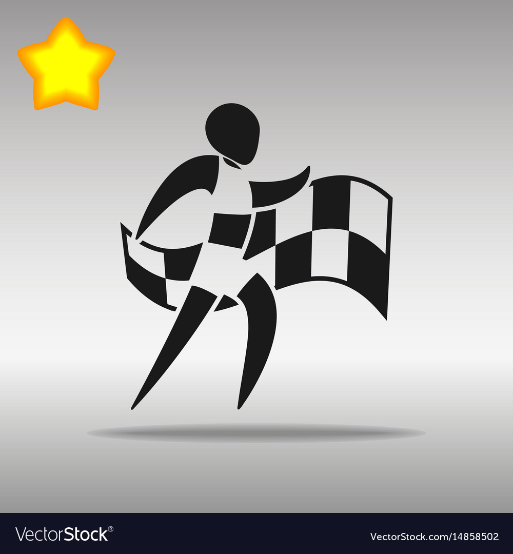 Athletics with flag black icon button logo symbol