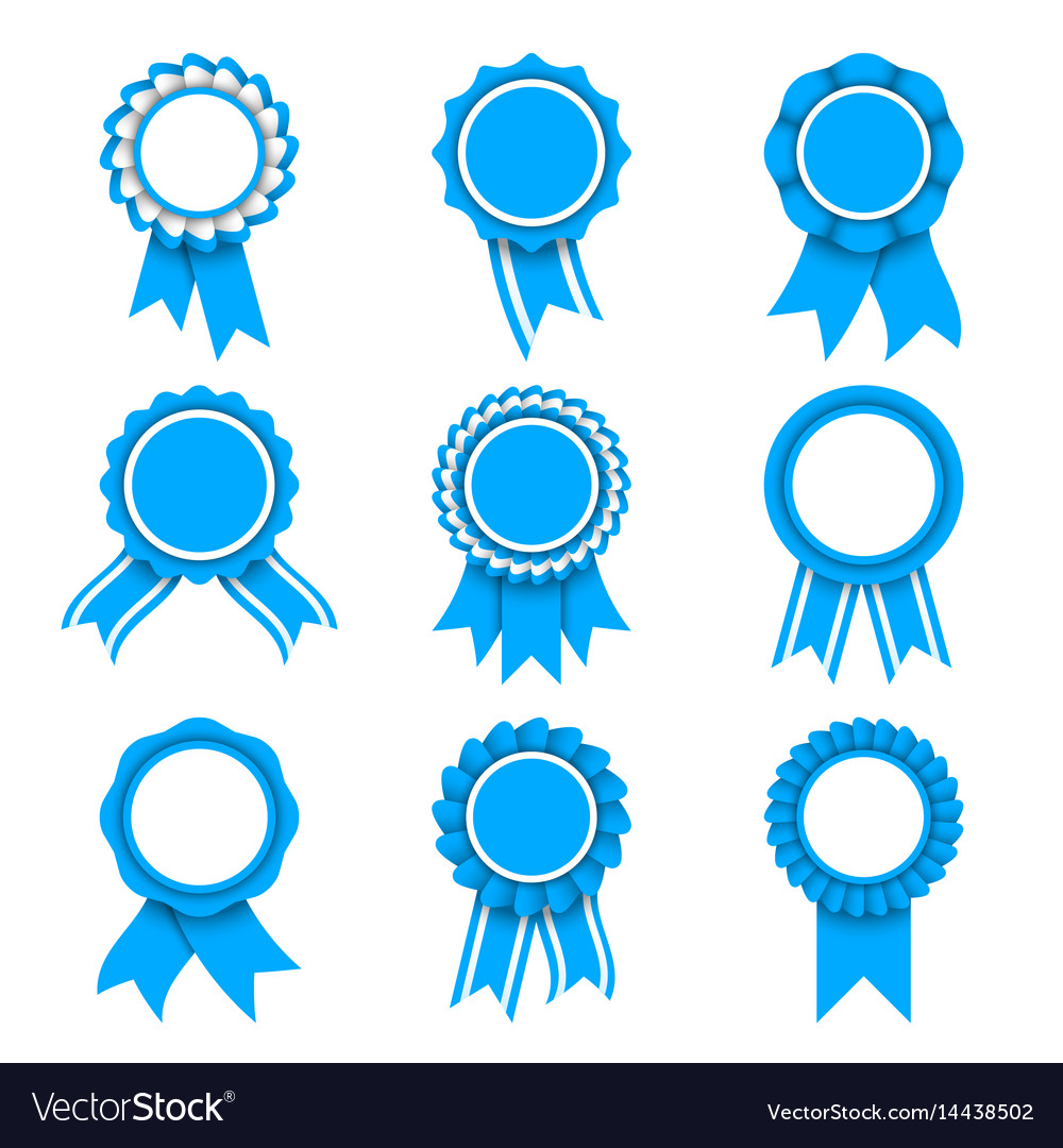 Blue award medals vector image