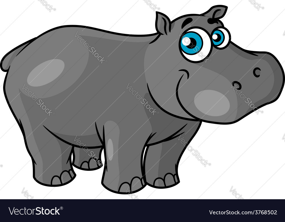 Cute cartoon baby hippo with blue eyes
