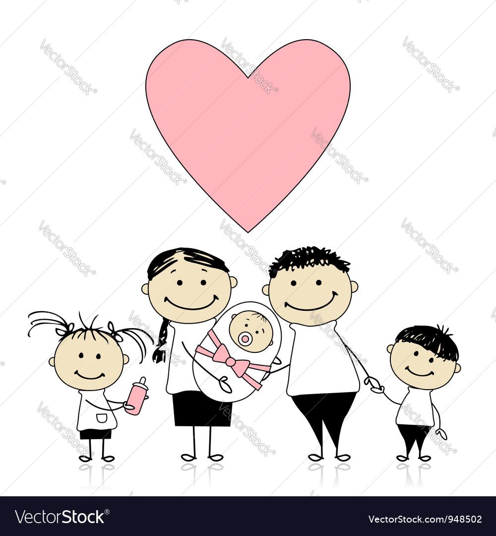 Happy parents with children newborn baby in hands vector image altavistaventures Image collections