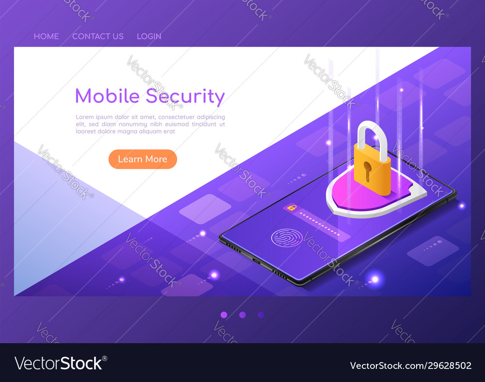Isometric web banner shield with lock and finger