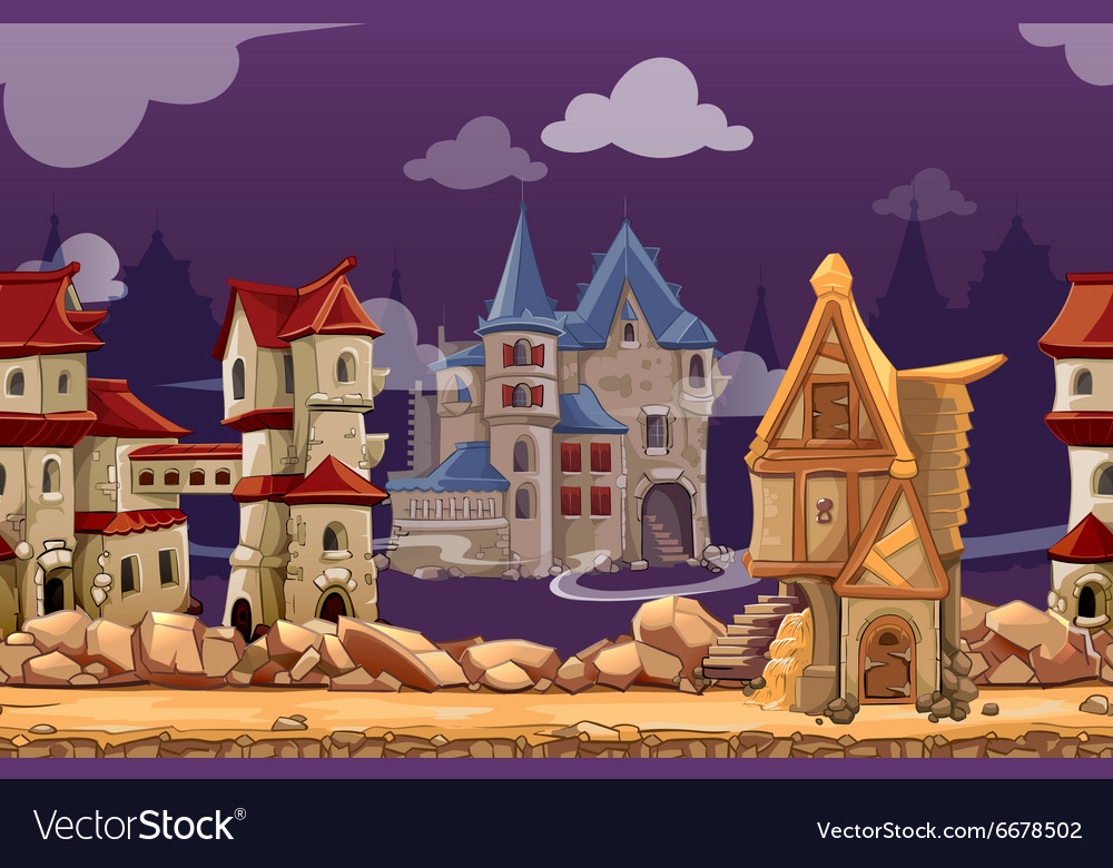 Medieval city seamless landscape background vector image
