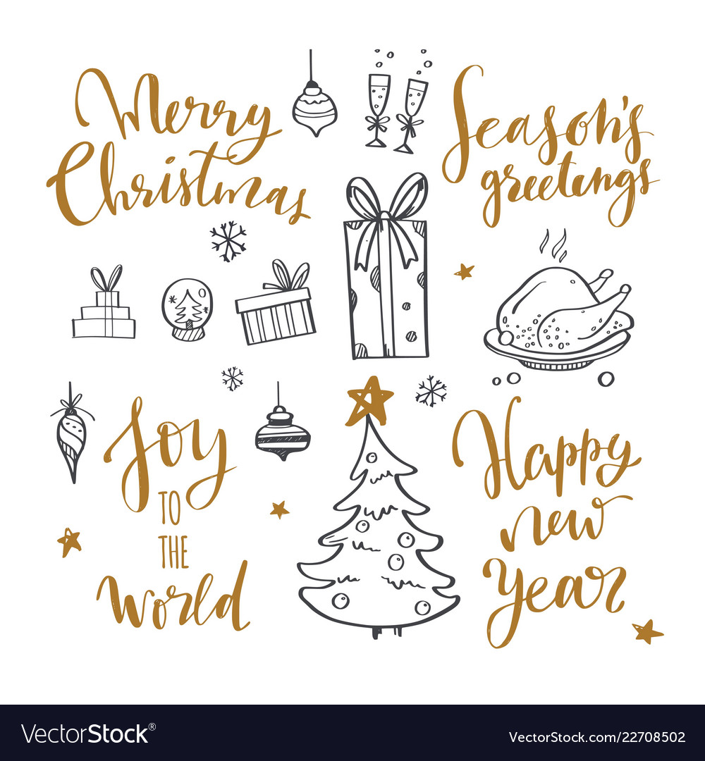 Merry christmas and new year words on christmas