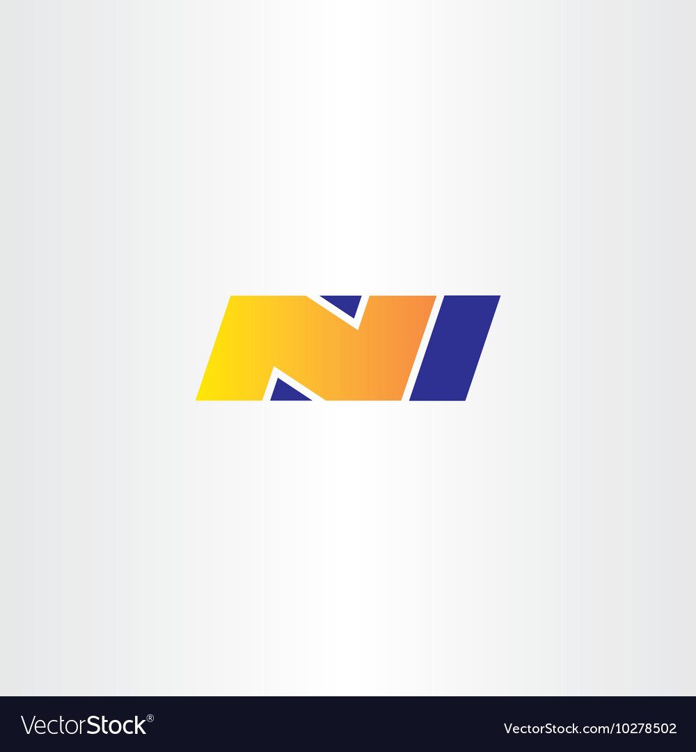 N letter yellow blue logo sign icon symbol vector image