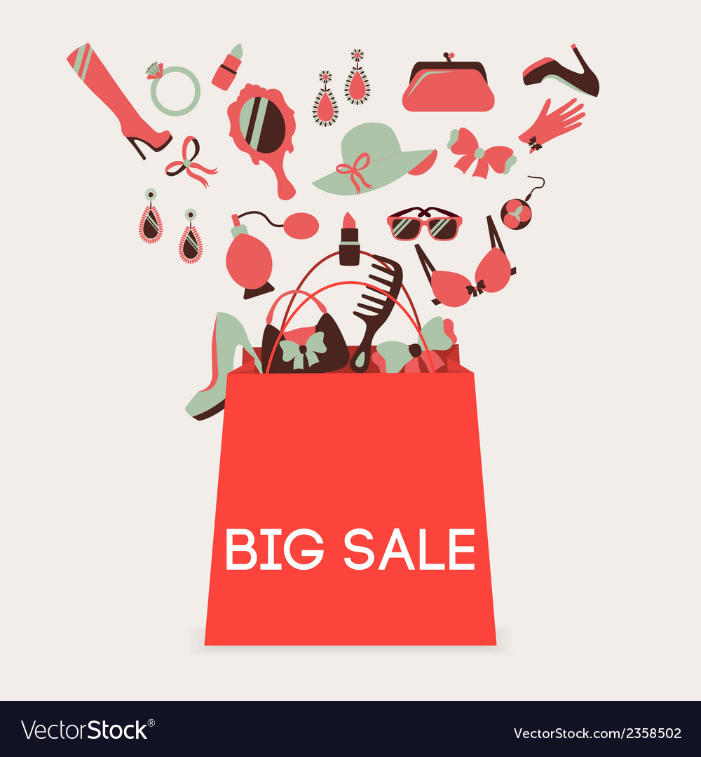 Shopping bag big sale vector image