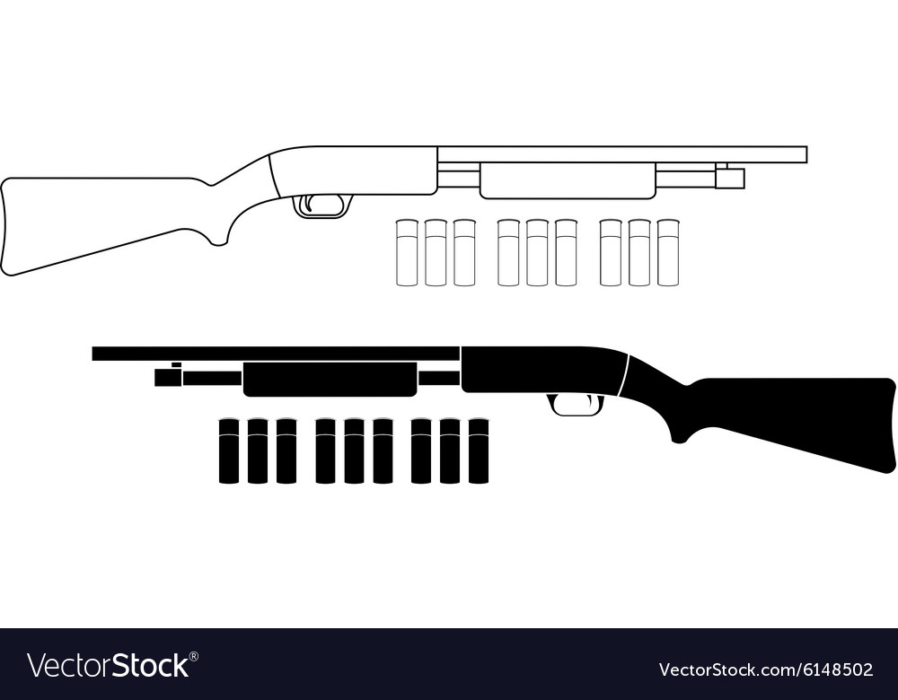 Shotgun with bullets Contour Black vector image