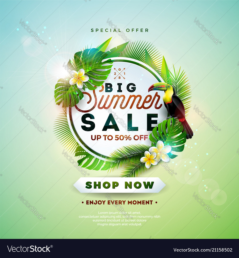 Summer sale design with flower toucan and exotic