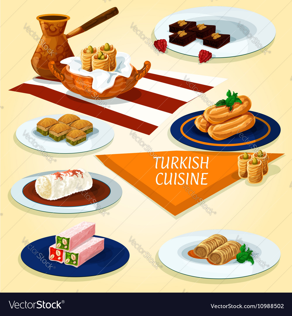 Turkish cuisine delights and desserts icon