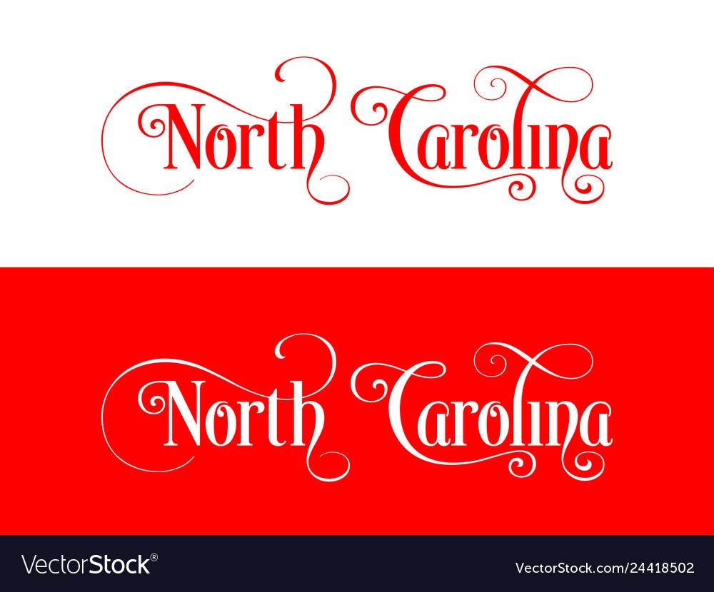Typography of the usa north carolina states