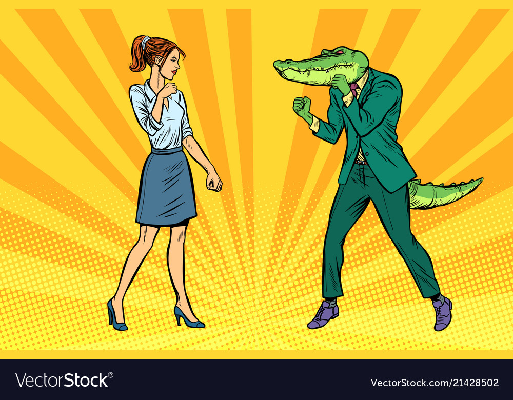 Woman businesswoman boxing fights with crocodile