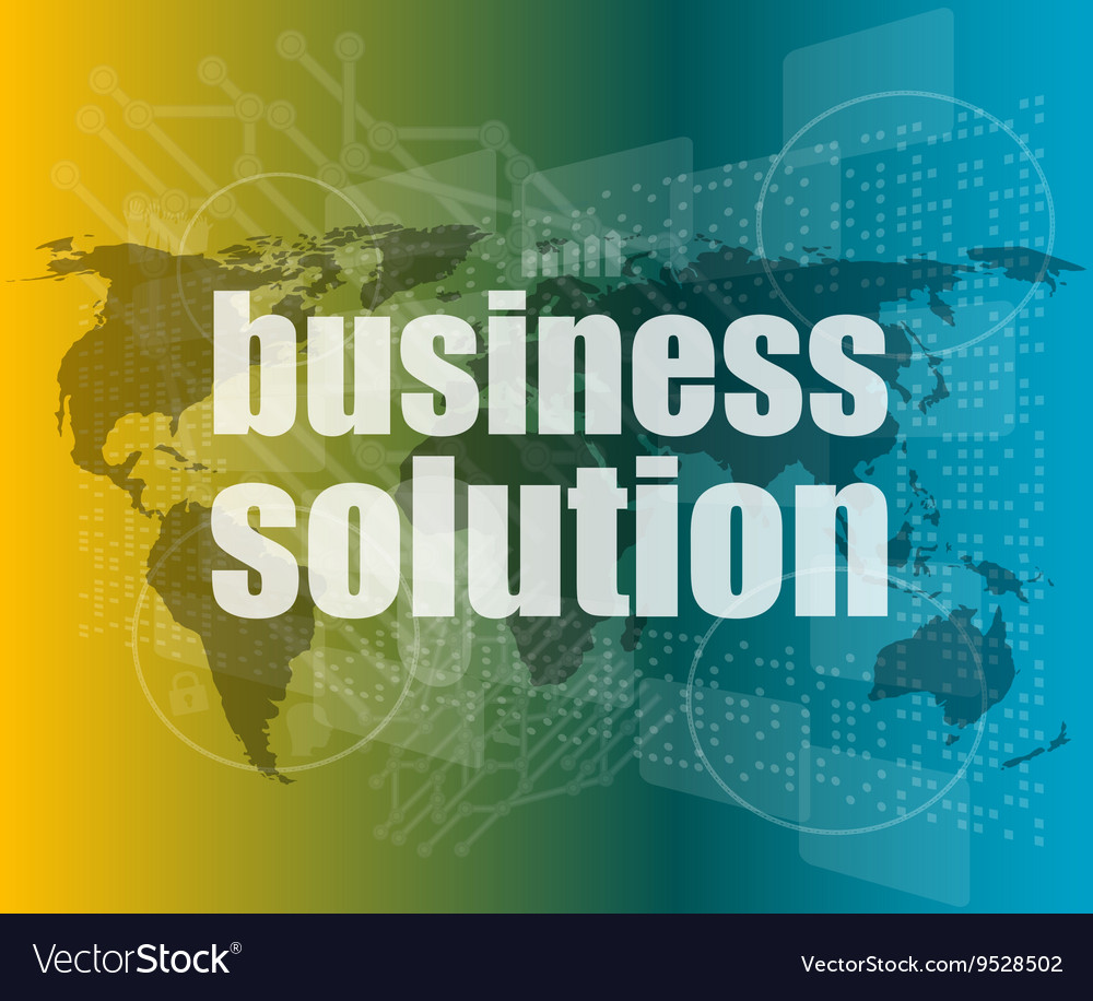 Words business solution on digital screen