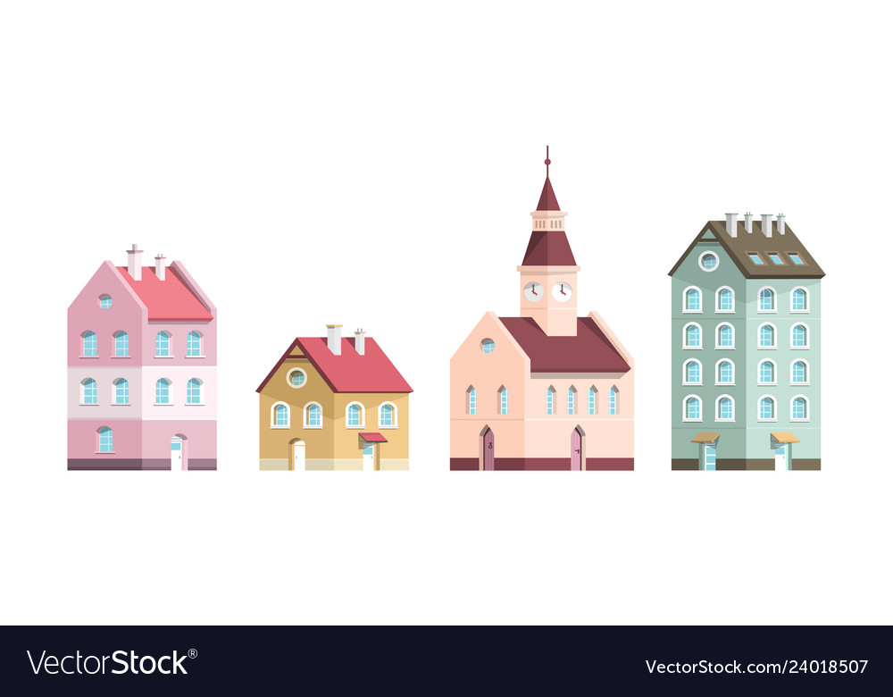 Building icons flat design houses set isolated on