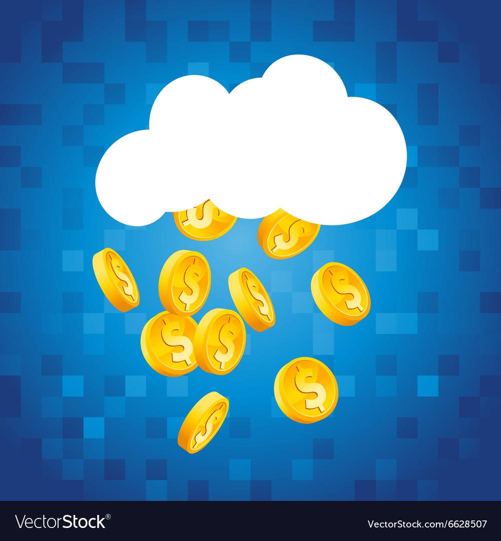 Cloud raining gold dollar coins