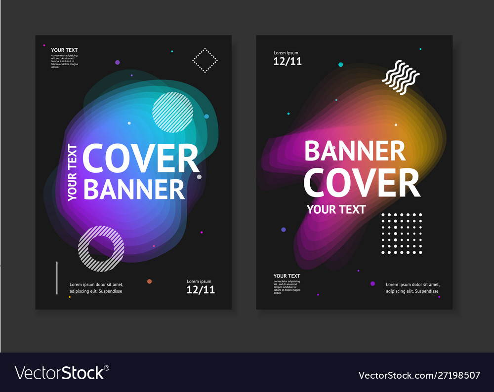 Cover banner card set with abstract colorful