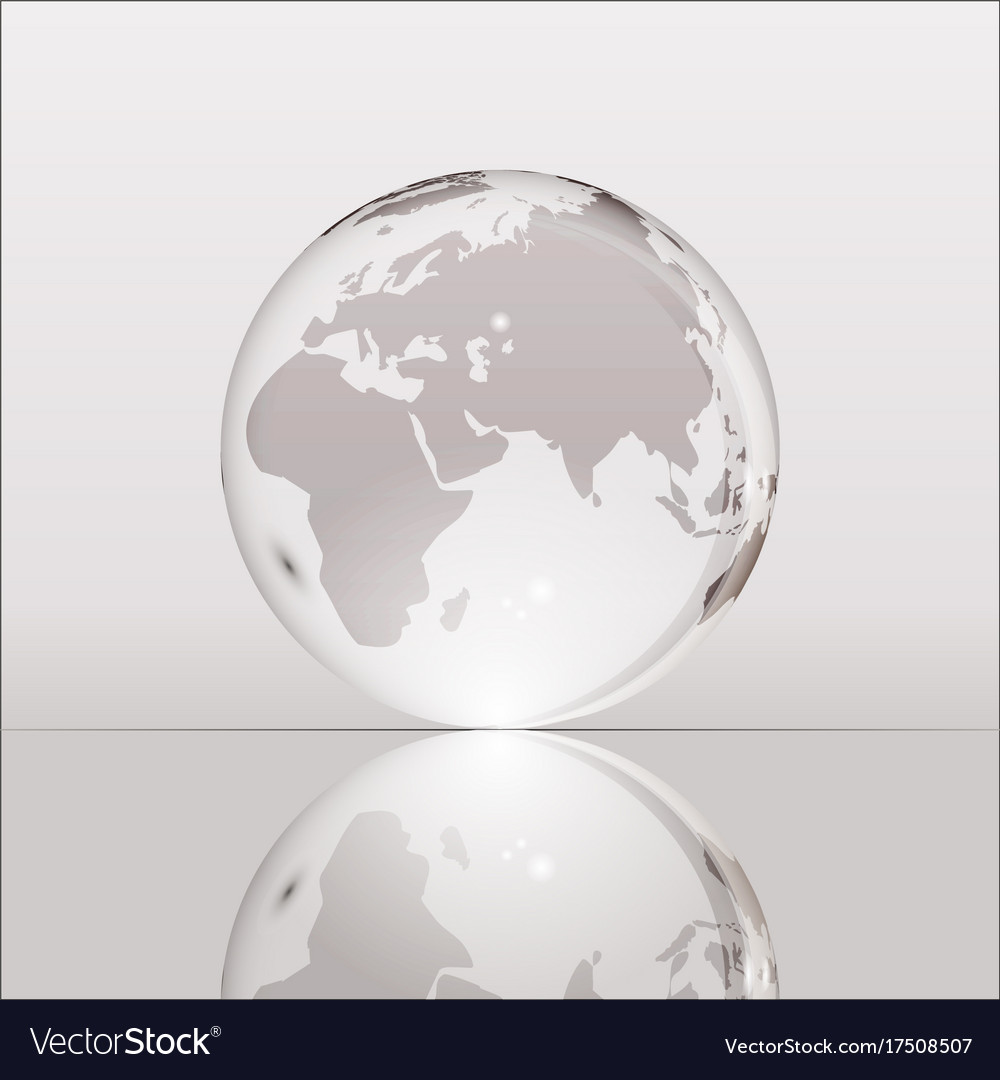 Gray shining transparent earth globe