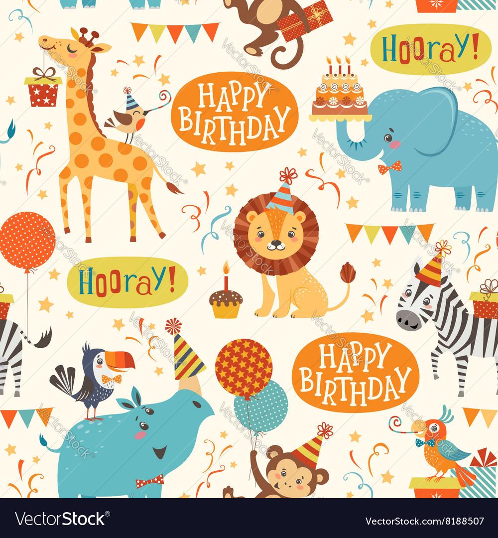 Happy birthday animals pattern
