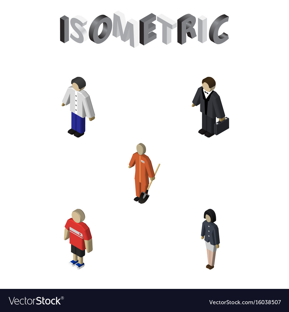 Isometric person set of guy male investor and