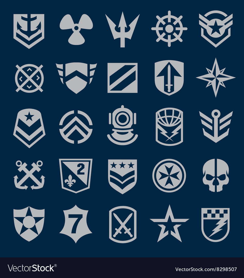 Military Icons Symbol Set On Navy Royalty Free Vector Image
