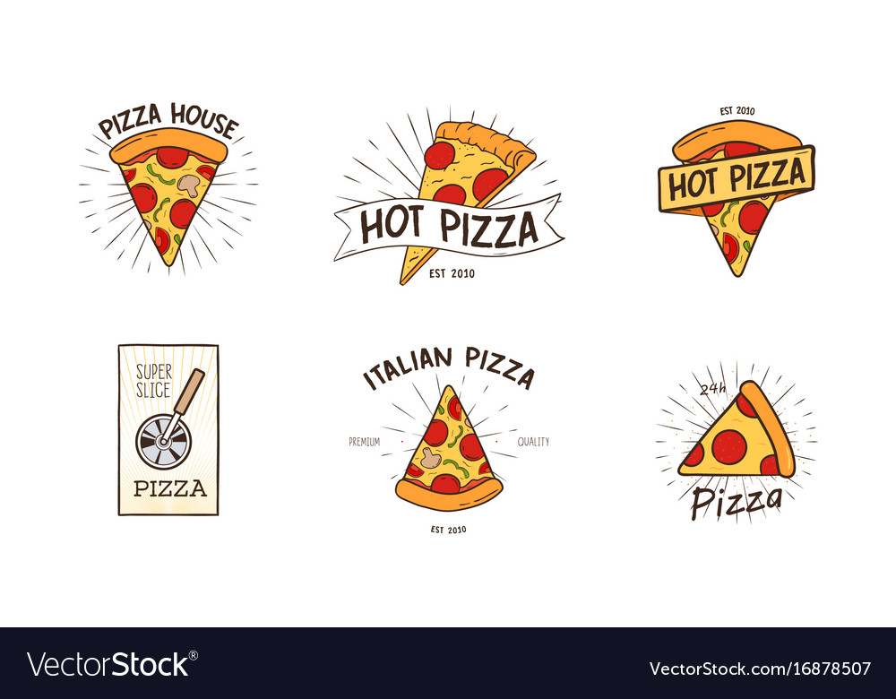 Pizzeria logotypes set collection of different