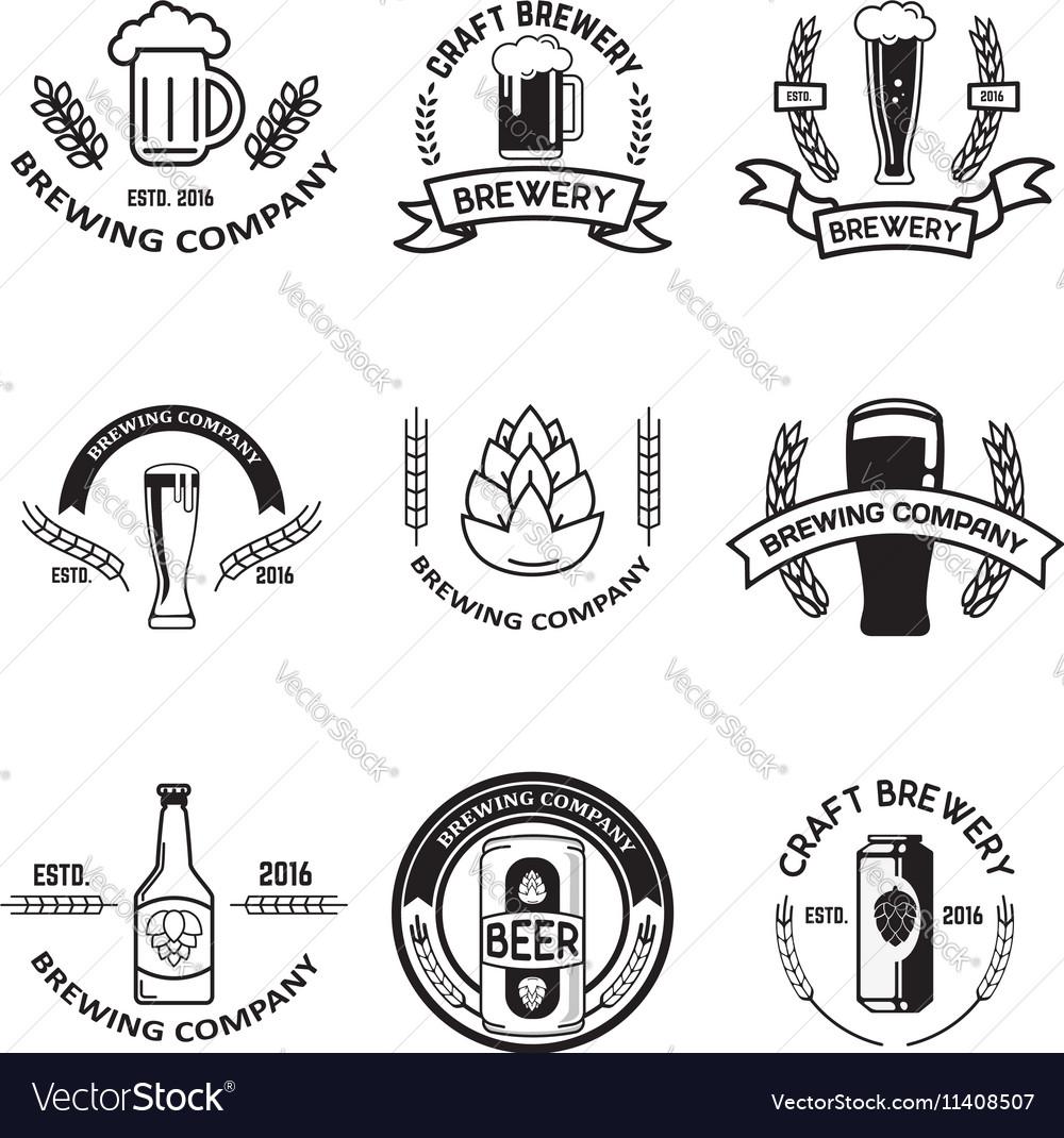 Set of beer labels in line style Design elements