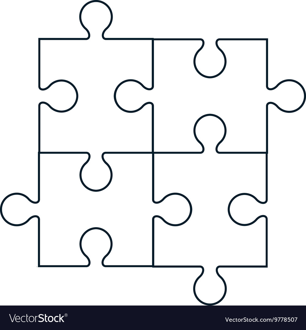 square in four puzzle pieces icon royalty free vector image