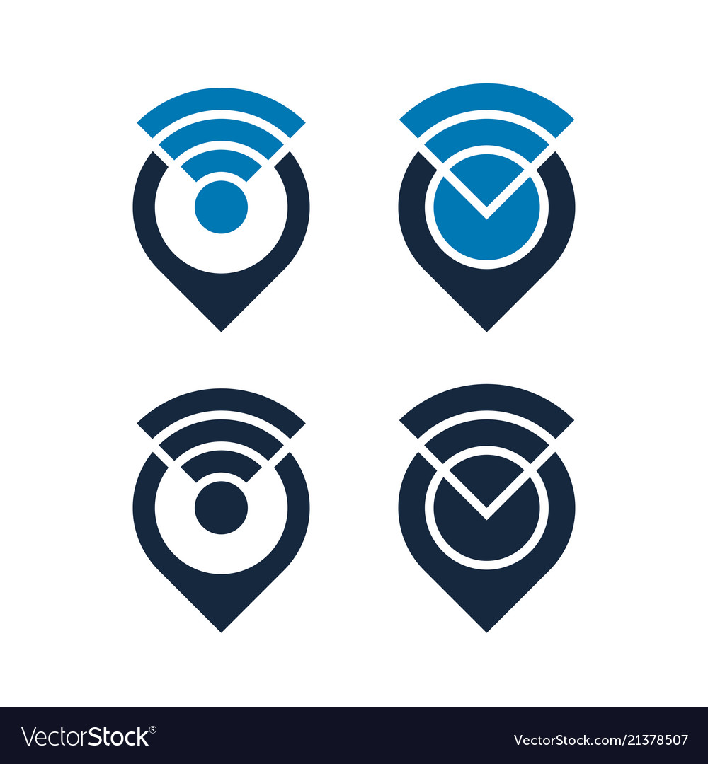Wifi icons design with map pointers isolated