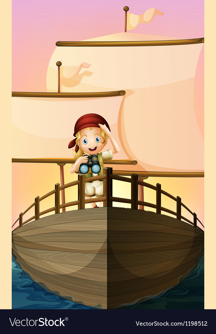 A pirate girl vector image