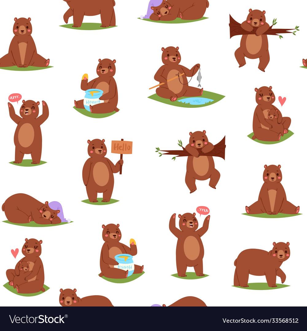 Bear seamless pattern cartoon cute animal repeat