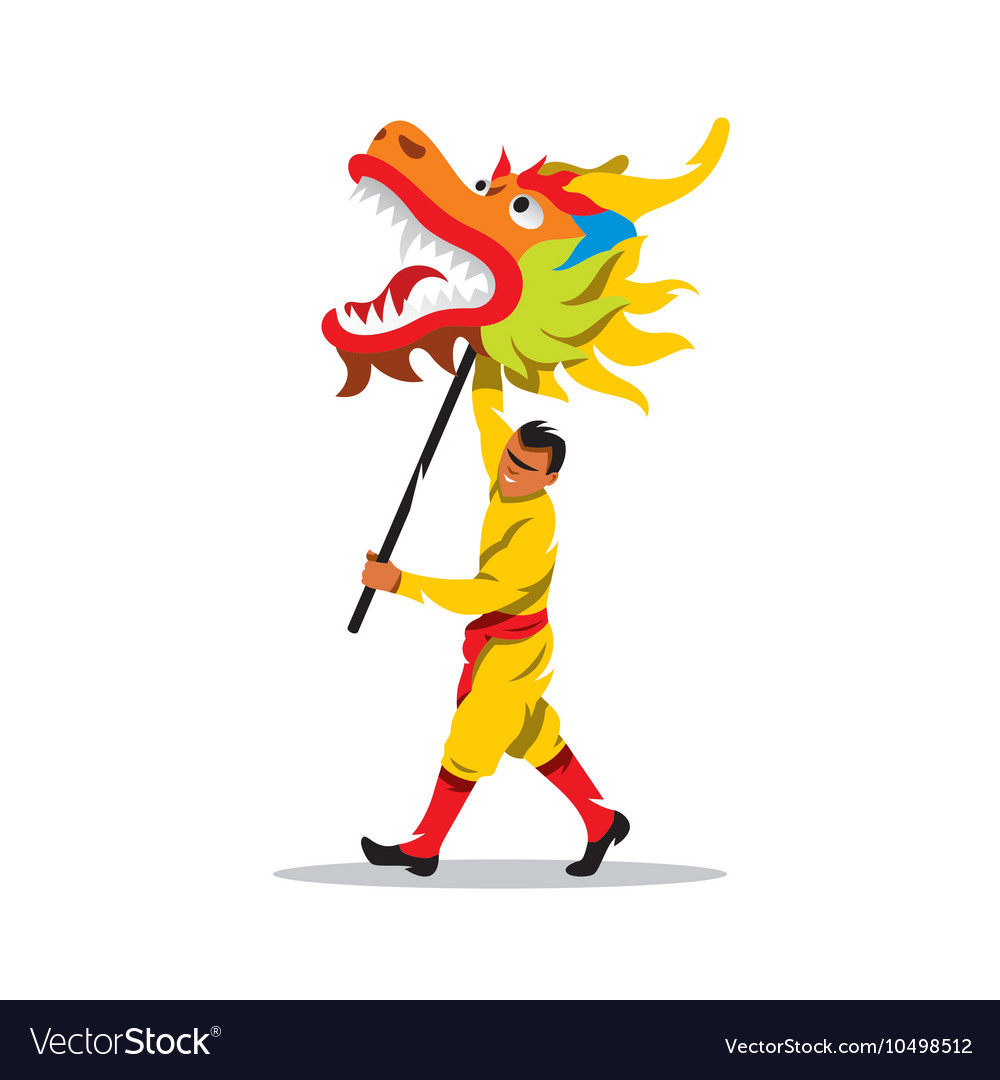 Chinese dragon and man dancing in
