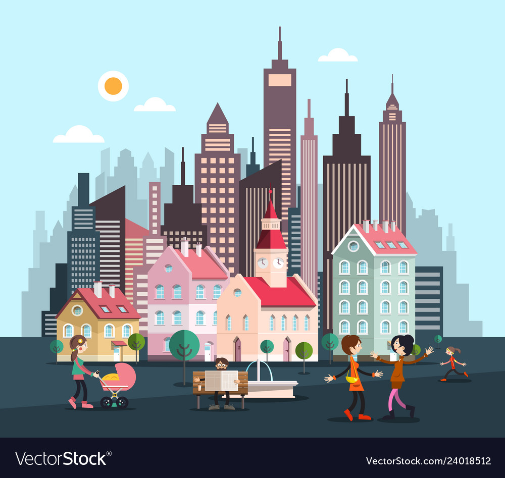 City with skyscrapers and houses abstract flat
