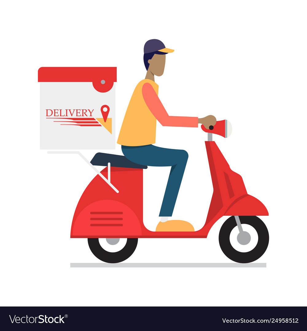 Delivery man riding motor bike