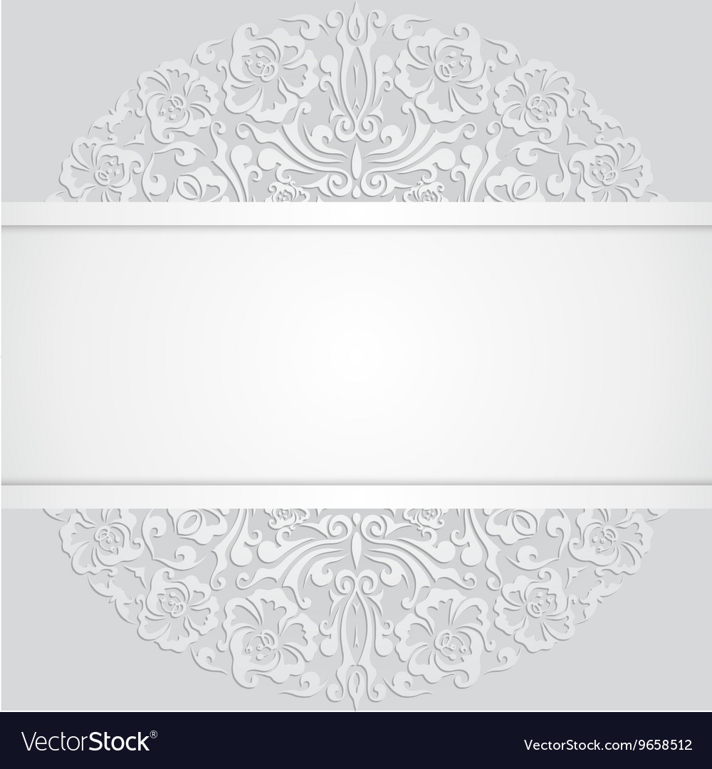 Floral Swirl White 3d Invitation Cards